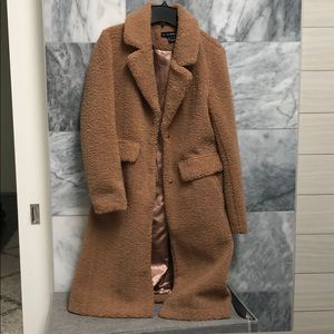 Camel teddy trench coat